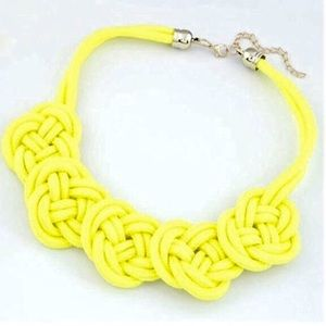 Yellow Floral Knot Necklace